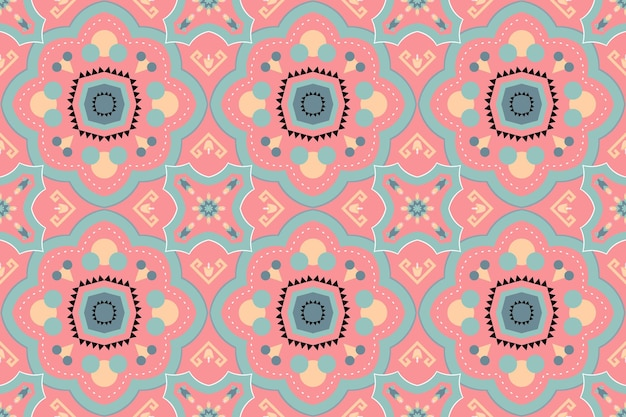 Cute pastel peach boho moroccan ethnic geometric floral tile art oriental seamless traditional pattern. design for background, carpet, wallpaper backdrop, clothing, wrapping, batik, fabric. vector. Premium Vector