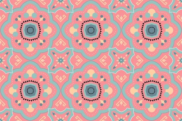 귀여운 파스텔 복숭아 보헤미안 모로코 민족 기하학적 꽃 타일 예술 동양의 매끄러운 전통 패턴입니다. 배경, 카펫, 벽지 배경, 의류, 포장, 바틱, 직물을 위한 디자인. 벡터.