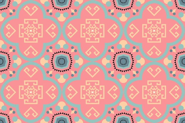 Cute pastel peach color boho moroccan ethnic geometric tile art oriental seamless traditional pattern. design for background, carpet, wallpaper backdrop, clothing, wrapping, batik, fabric. vector.