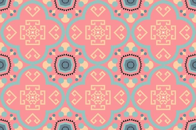 귀여운 파스텔 복숭아 색 보헤미안 모로코 민족 기하학적 타일 예술 동양의 매끄러운 전통 패턴입니다. 배경, 카펫, 벽지 배경, 의류, 포장, 바틱, 직물을 위한 디자인. 벡터.