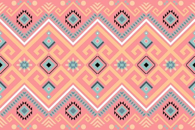 かわいいパステルピンクの幾何学的なオリエンタルイカットシームレス。背景、カーペット、壁紙の背景、衣類、ラッピング、バティック、ファブリックのモダンな伝統的なエスニックパターンデザイン。刺繡スタイル。ベクター。