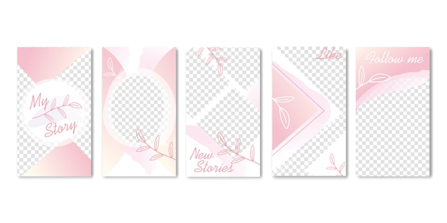 Cute pastel pink templates with branch of leaves.