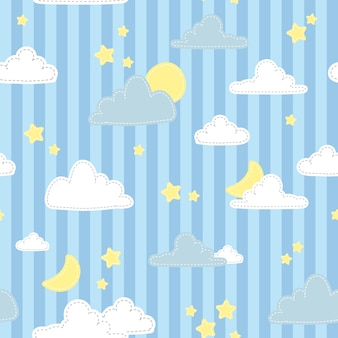 Cute pastel sky on blue stripe cartoon doodle seamless pattern