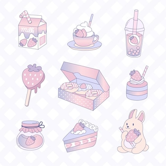 Симпатичные пастельные стационарные стикеры десертов