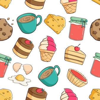 Cute pastry elements in seamless pattern with strawberry jam, coffee, cookie and slice cake on white background