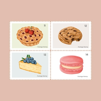 Cute pastry and sweets on postage stamps set