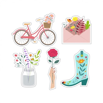 Cute patch floral stickers set vector design