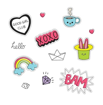 Cute patches set vector illustration