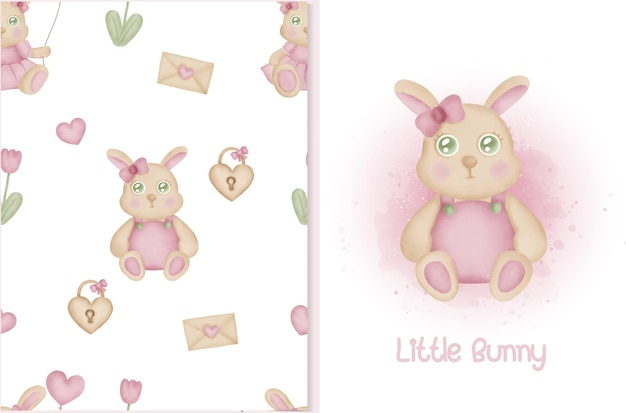 Симпатичный узор и открытка с кроликом и элементами валентинки.