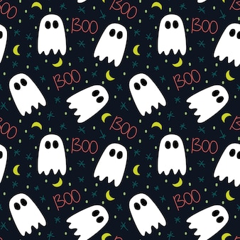 Cute pattern of halloween with ghost