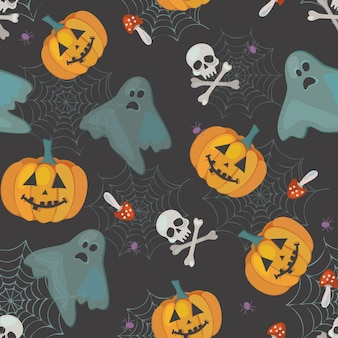 Cute pattern for halloween with ghosts, pumpkins and skulls, vector seamless pattern
