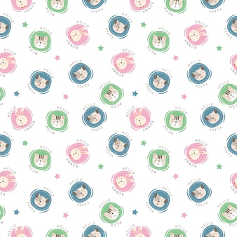 Cute pattern of head animal with polka dot style