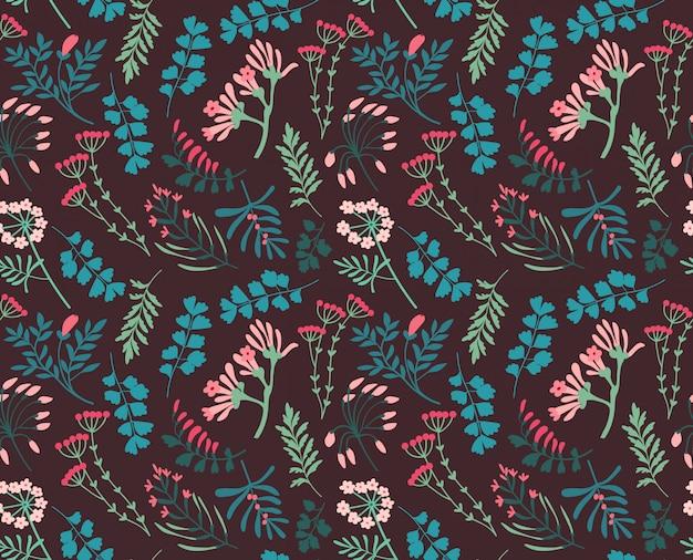 小さな果実と葉のかわいいパターン。小さな色とりどりの花。ダークバイオレット。小さなかわいいシンプルな春の花。
