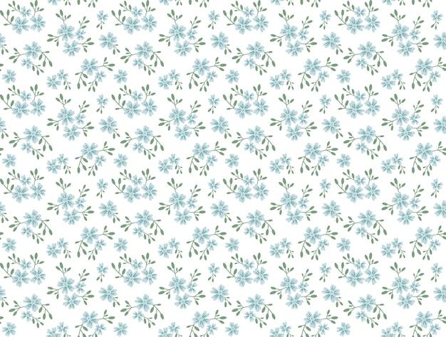小さな花のかわいいパターン。小さな青い花。白色の背景。小さなかわいいシンプルな春の花。シームレスな花柄。