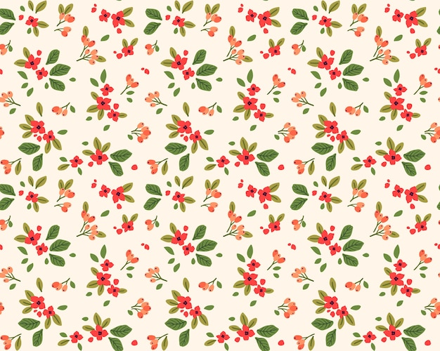 Симпатичный узор в маленьких красных цветках. белый фон. бесшовный цветочный узор.