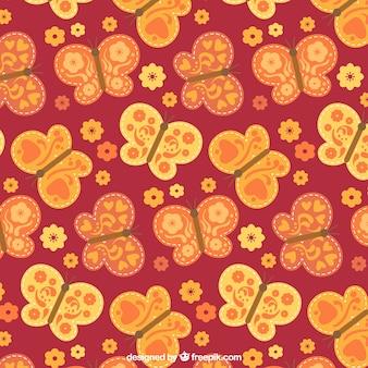 나비와 꽃의 귀여운 패턴