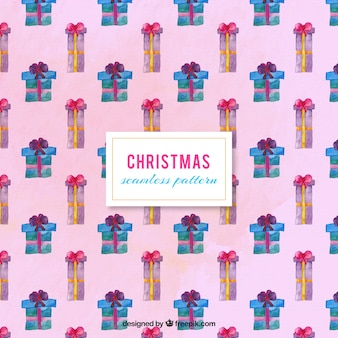 Симпатичный шаблон рождественские подарки окрашены акварель