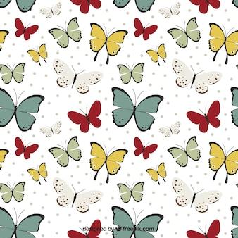 손으로 그린 나비의 귀여운 패턴