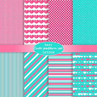 Cute pattern set. hearts background. valentine day . pink, blue colors. polka dot, stripes, hearts pattern. .