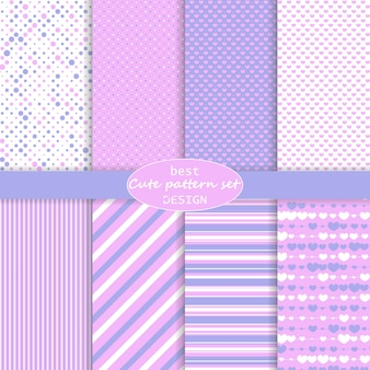 Cute pattern set. hearts background. valentine day . pink, violet colors. polka dot, stripes, hearts pattern. paper set . .