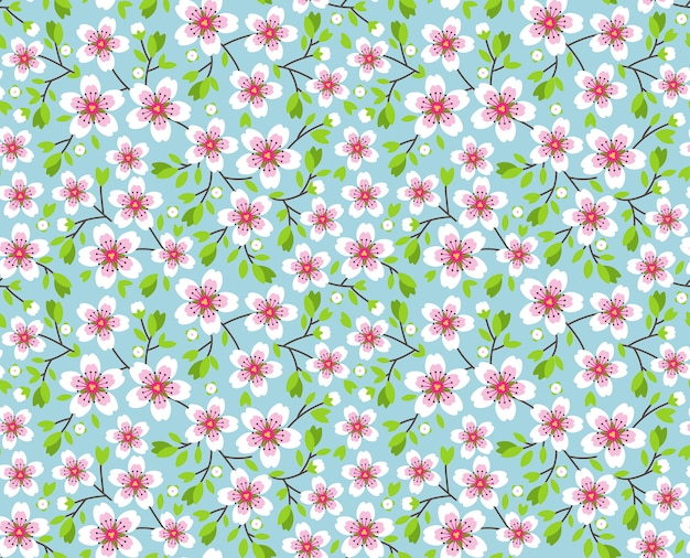 Cute pattern in small flower. pink sakura flowers, blossoming japanese cherry. symbol of spring.  small colorful flowers. blue background. floral seamless pattern. small cute simple spring flowers.
