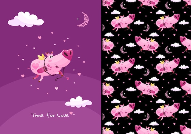 Милый узор свинья стреляет любовной стрелой в воздух time for love