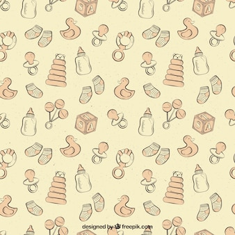 Cute pattern with baby elements in vintage style