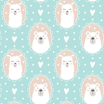 Cute pattern with a bear and a llama face