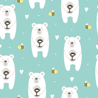 Cute pattern with a bear with honey and bees