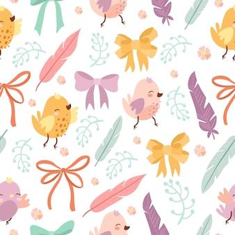 새와 깃털이 있는 귀여운 패턴