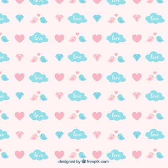 Cute pattern with birds and blue clouds for valentine's day