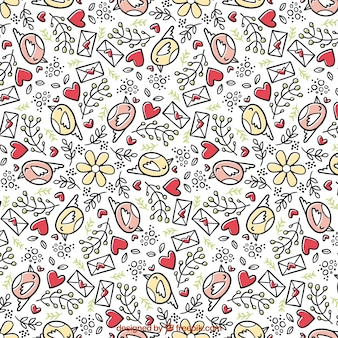Cute pattern with birds and envelopes for valentine's day