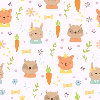 Cute pattern with carrots and animals
