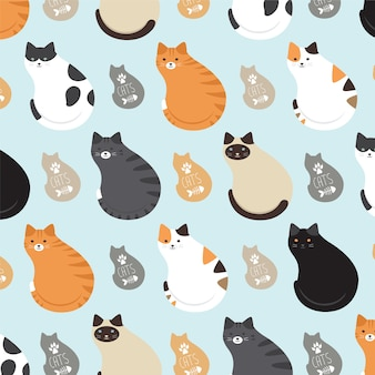Cute pattern with cats