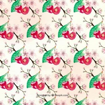 체리와 꽃과 귀여운 패턴
