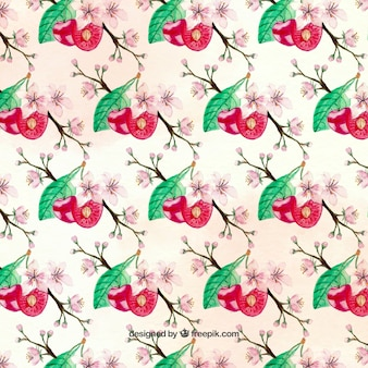 Cute pattern with cherries and flowers
