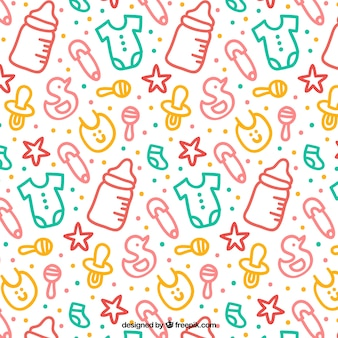 Cute pattern with colorful hand-drawn baby elements