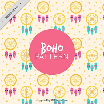 Cute pattern with dreamcatchers and stars