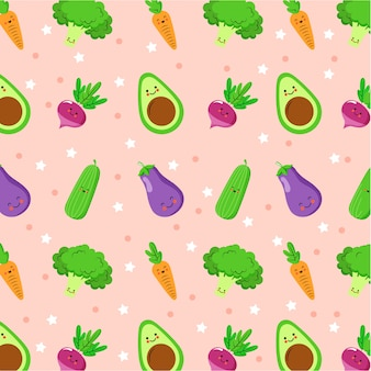 Cute pattern with eggplant, cucumber, beet, avocado cartoons characters
