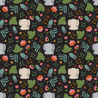 Cute pattern with elephants,plants and flowers in the black backdrop.