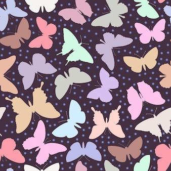 印刷用の壊れやすい蝶とかわいいパターン。ベクトルイラスト。