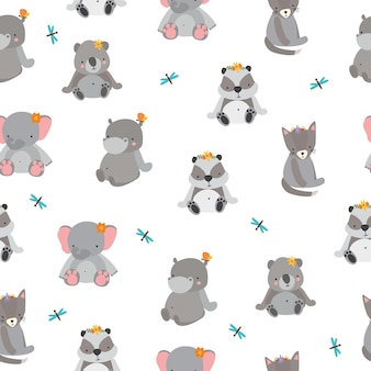 Cute pattern with gray animals
