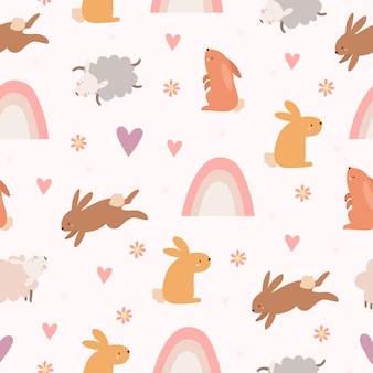Cute pattern with hares