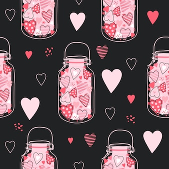 Cute pattern with jars with pink hearts