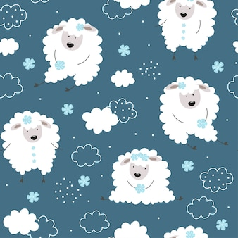 Cute pattern with lambs. sheep, flowers, clouds