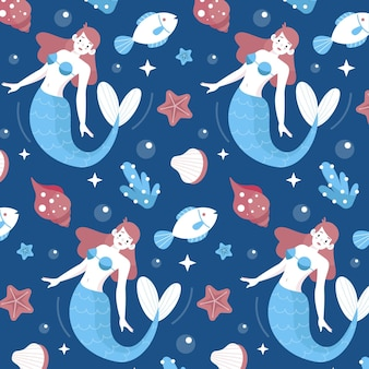 Cute pattern with mermaid swimming