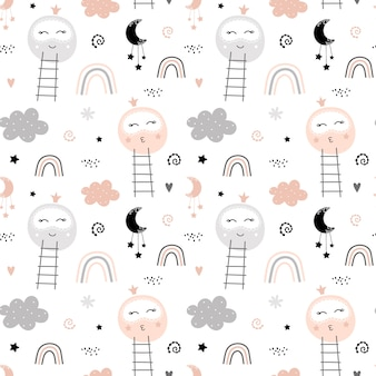 Cute pattern with moon and rainbow