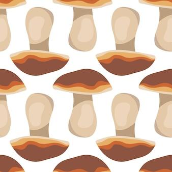 버섯 가을 수확 삼림 식물이 있는 귀여운 패턴은 종이 직물과 디자인을 위해 인쇄됩니다.