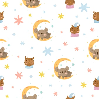 Cute pattern with owl and koala