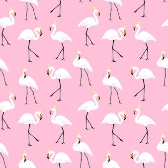 Cute pattern with pink flamingos.